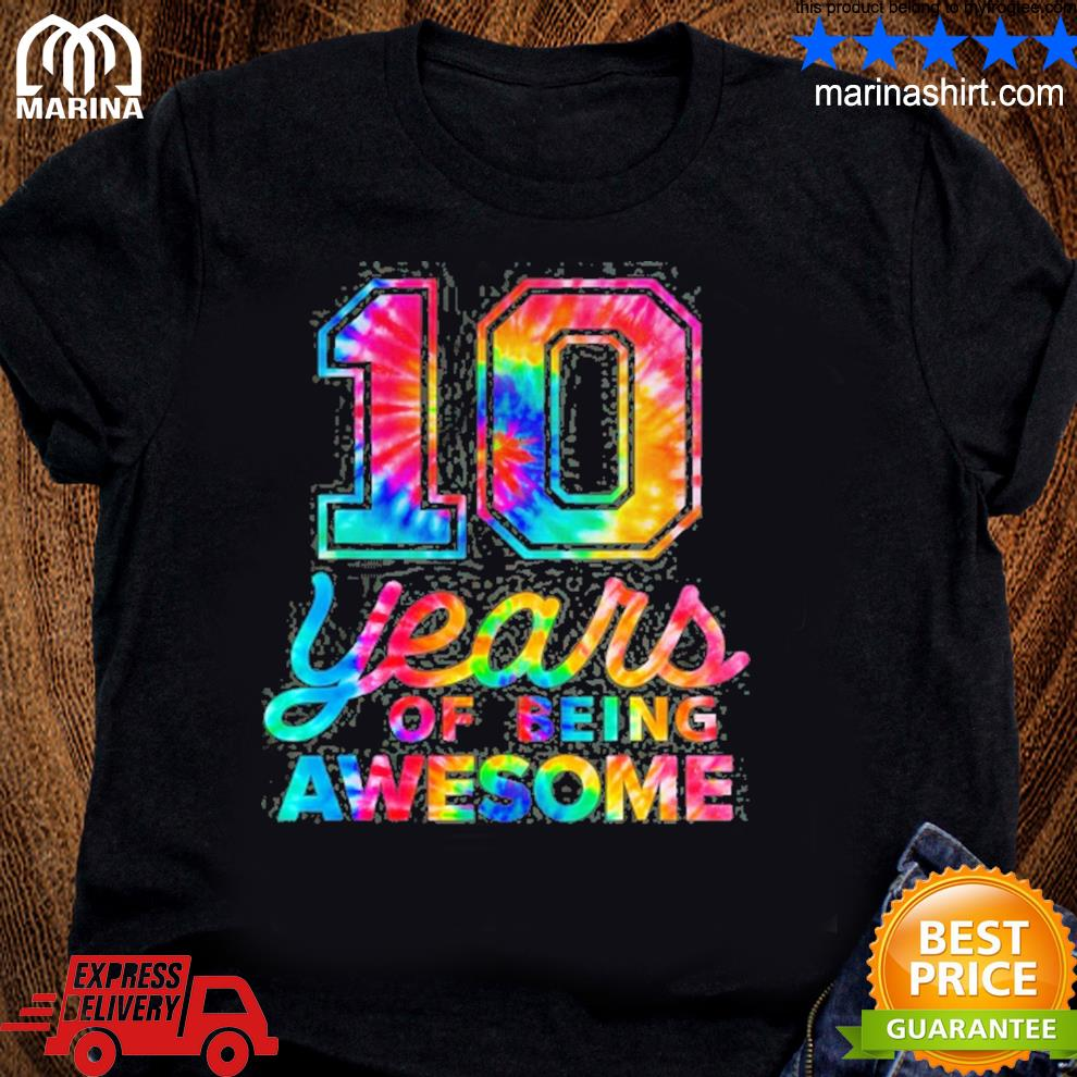 10th birthday tie dye 10 years old awesome letter case shirt
