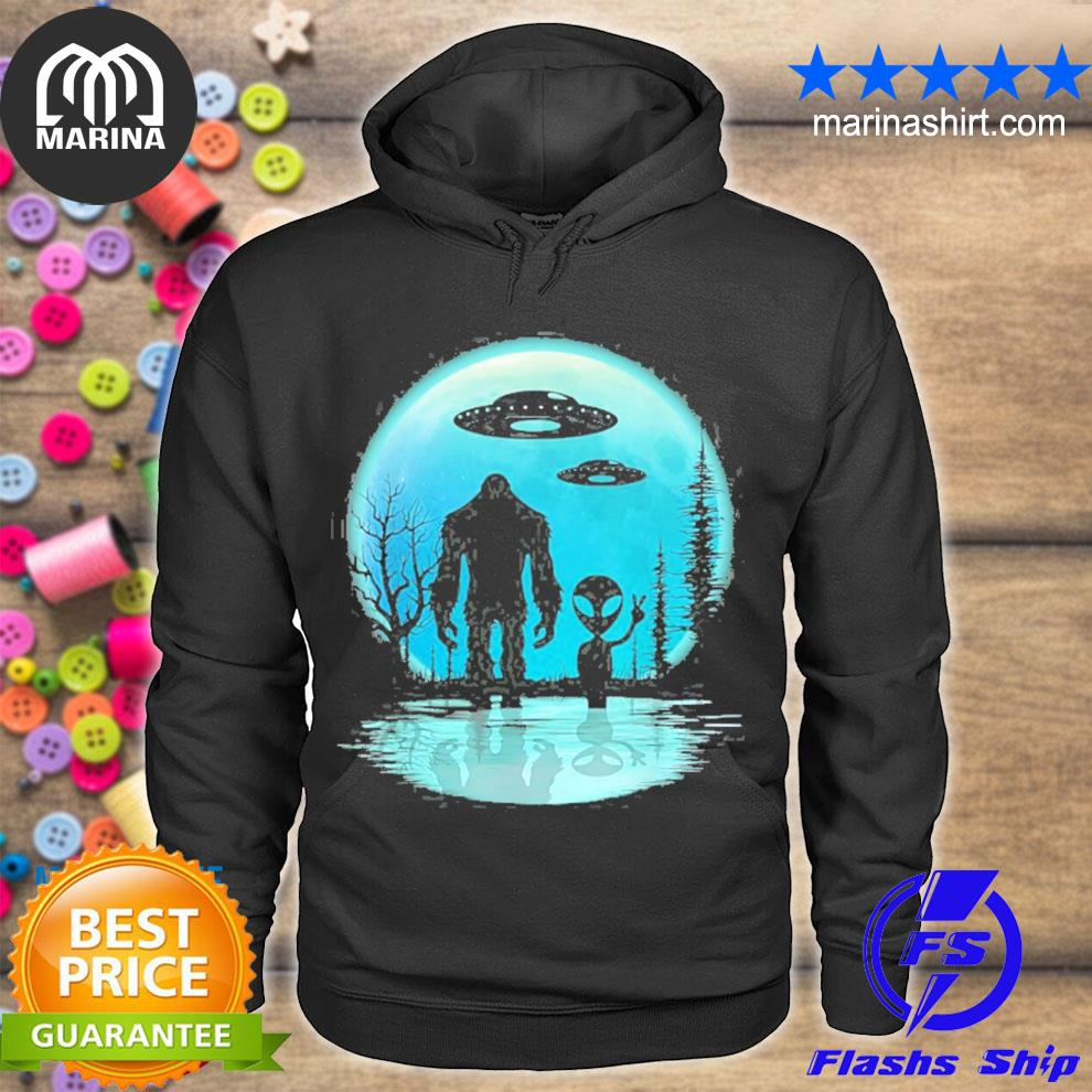 Alien and bigfoot moon s unisex hoodie