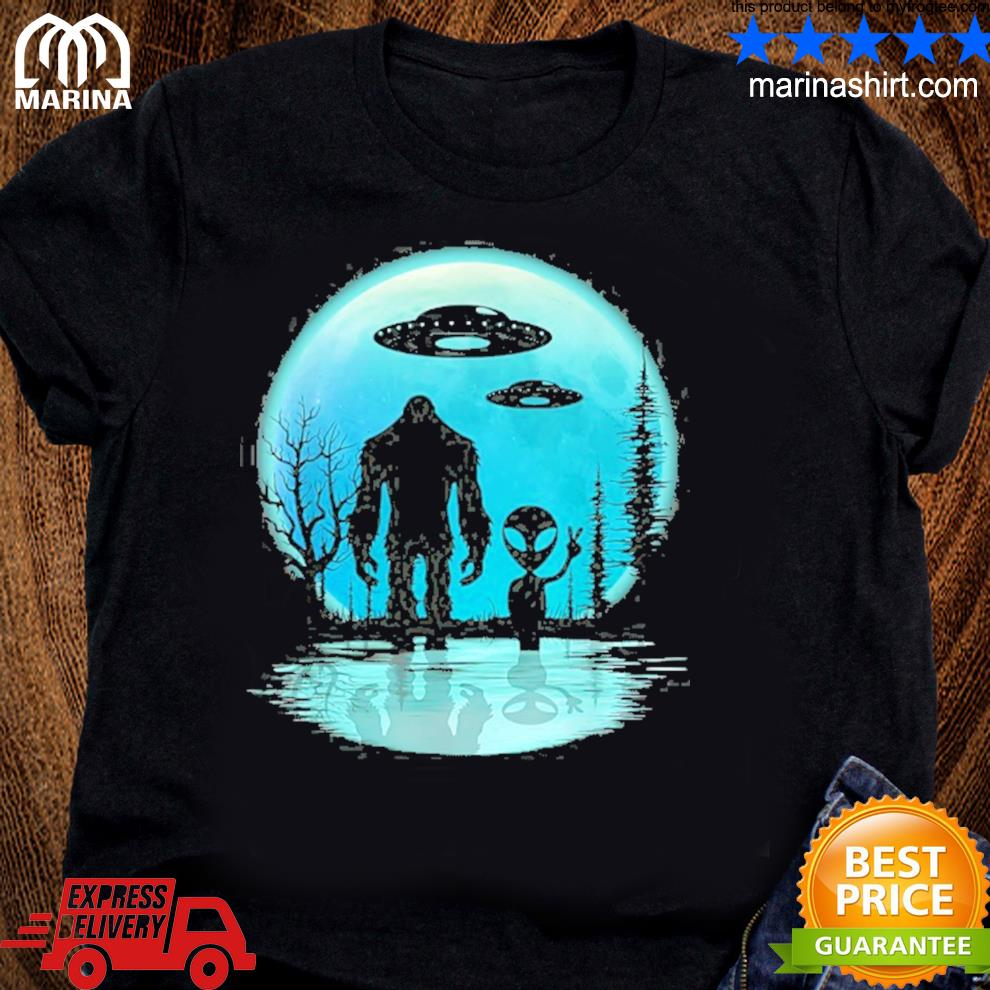 Alien and bigfoot moon shirt