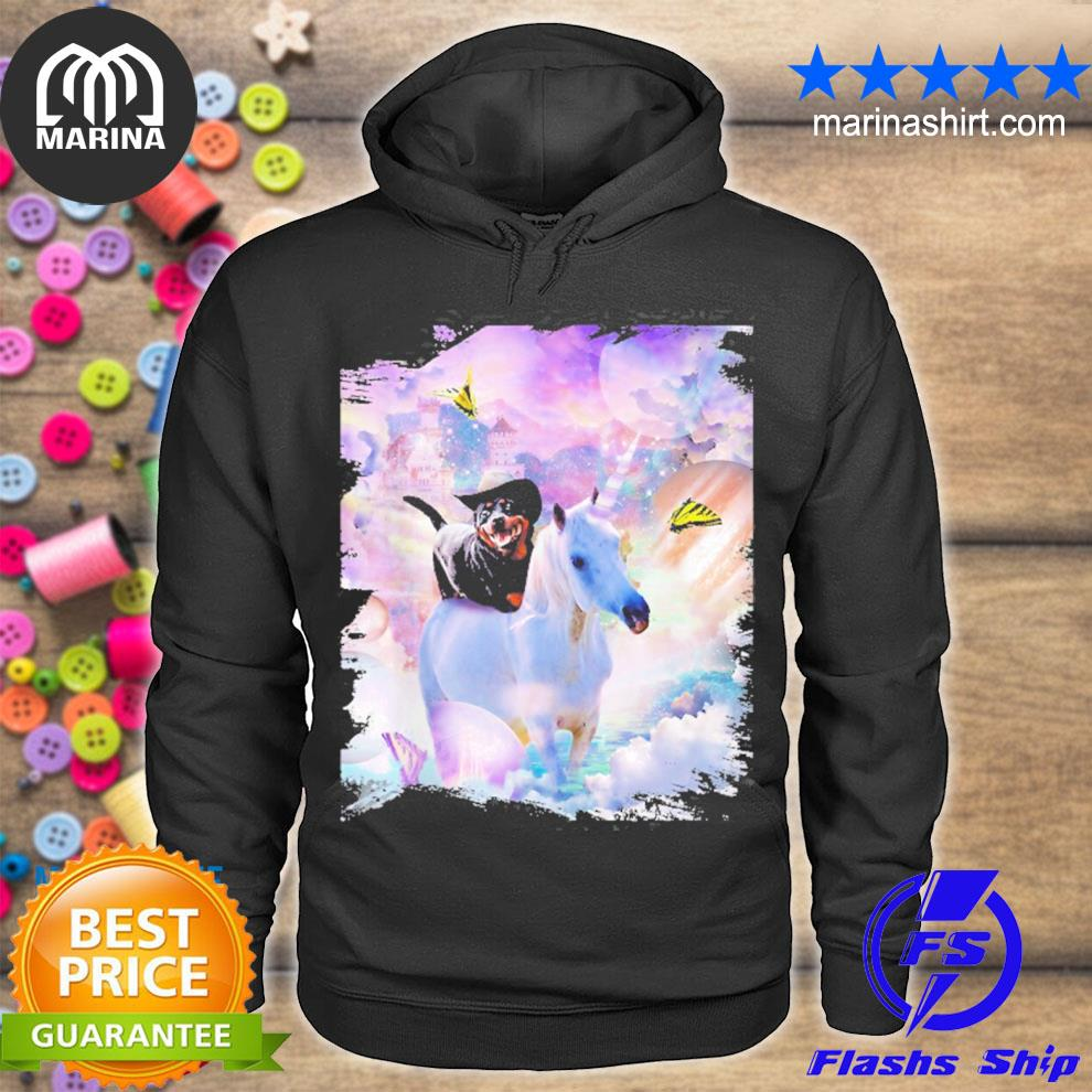 Cowboy Rottweiler dog riding unicorn s unisex hoodie