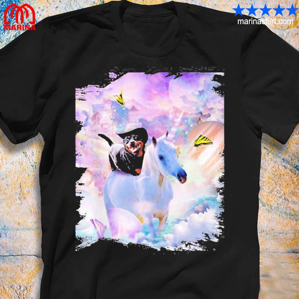 Cowboy Rottweiler dog riding unicorn shirt