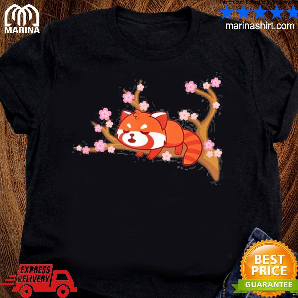 Funny red panda kawaiI japanese cherry blossom flower gifts s unisex ladies tee