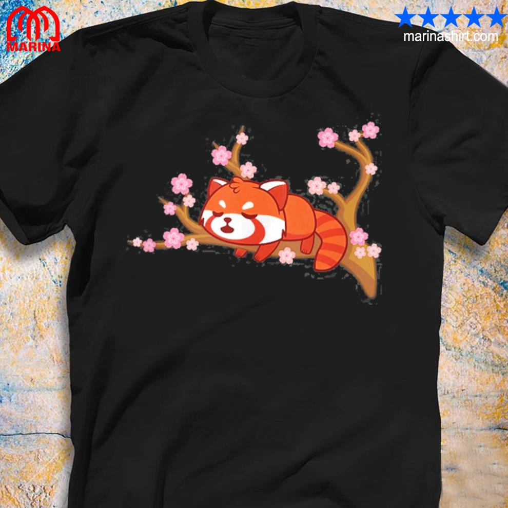 Funny red panda kawaiI japanese cherry blossom flower gifts shirt