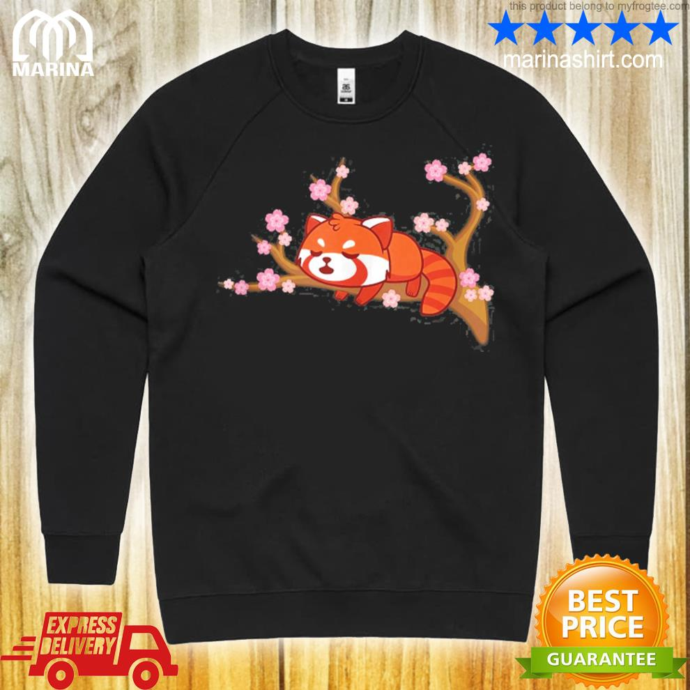 Funny red panda kawaiI japanese cherry blossom flower gifts s unisex sweatshirt