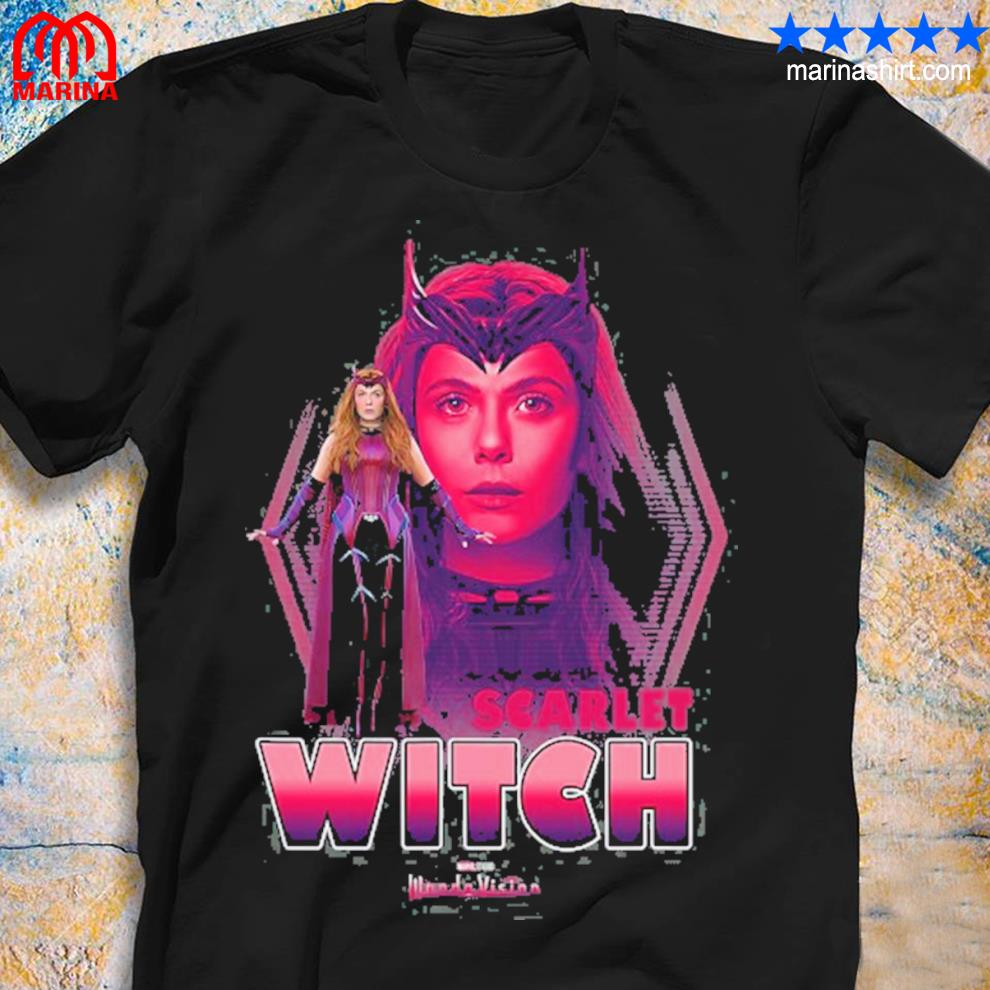 Marvel wandavision the scarlet witch faded portrait shirt