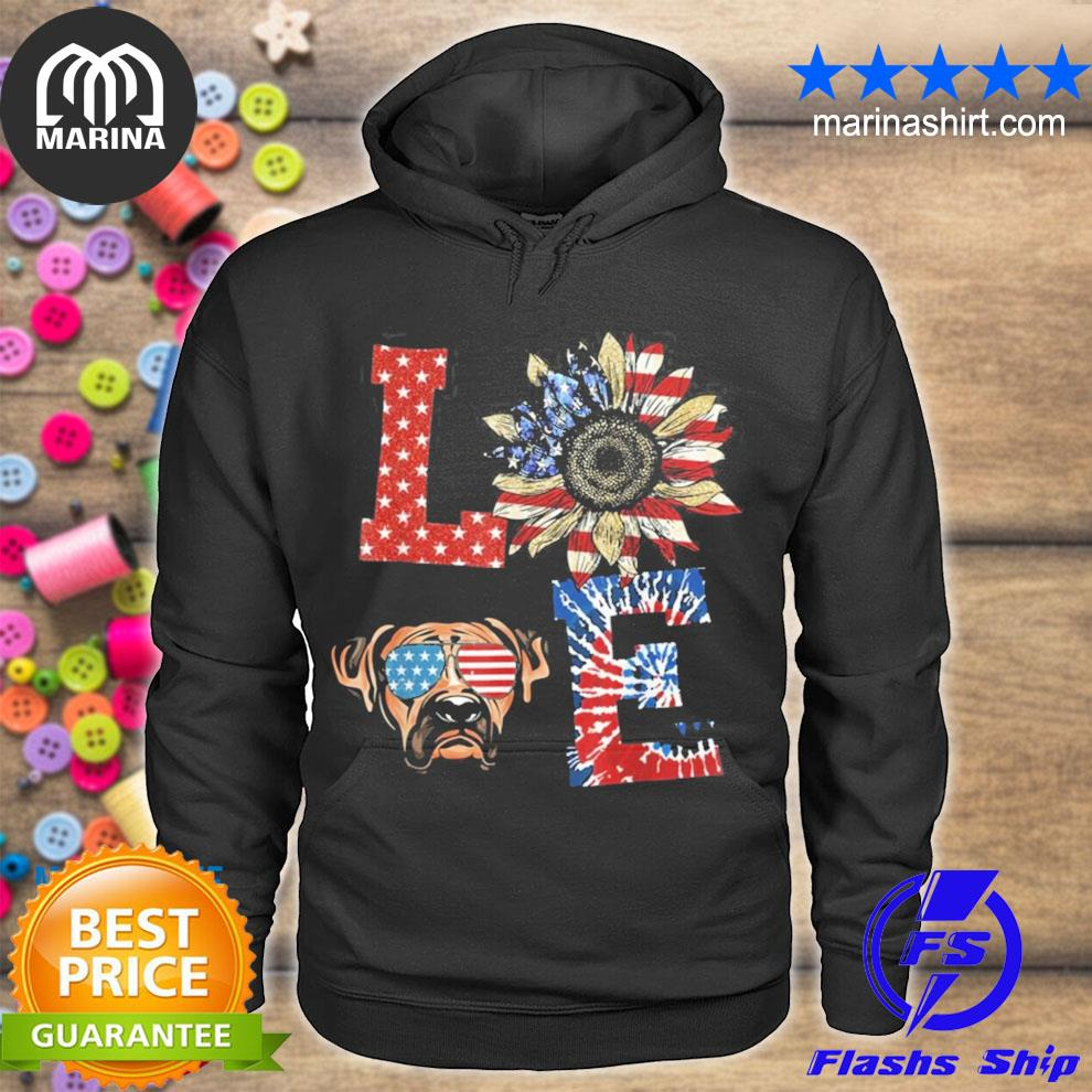 Funny love Boxer dog usa flag sunflower tie dye new 2021 s unisex hoodie