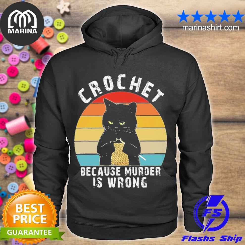 Black cats crochet because murder is wrong vintage s unisex hoodie