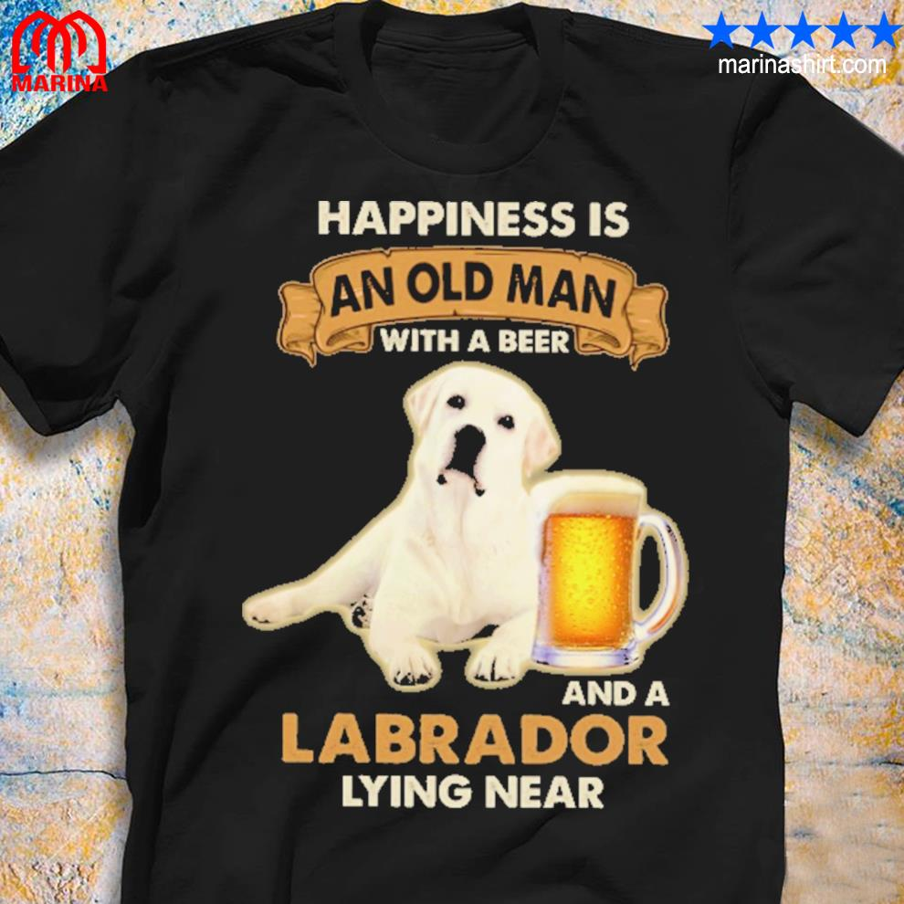 Happiness is and old man with a beer and labrador lying near shirt